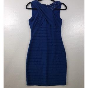 Adrianna Papell 6 Blue Gem Bodycon Cocktail Dress
